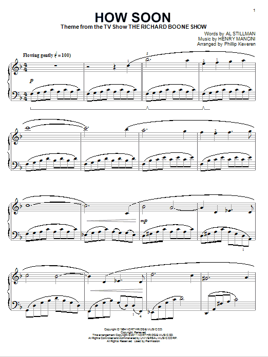 Henry Mancini How Soon sheet music notes and chords. Download Printable PDF.