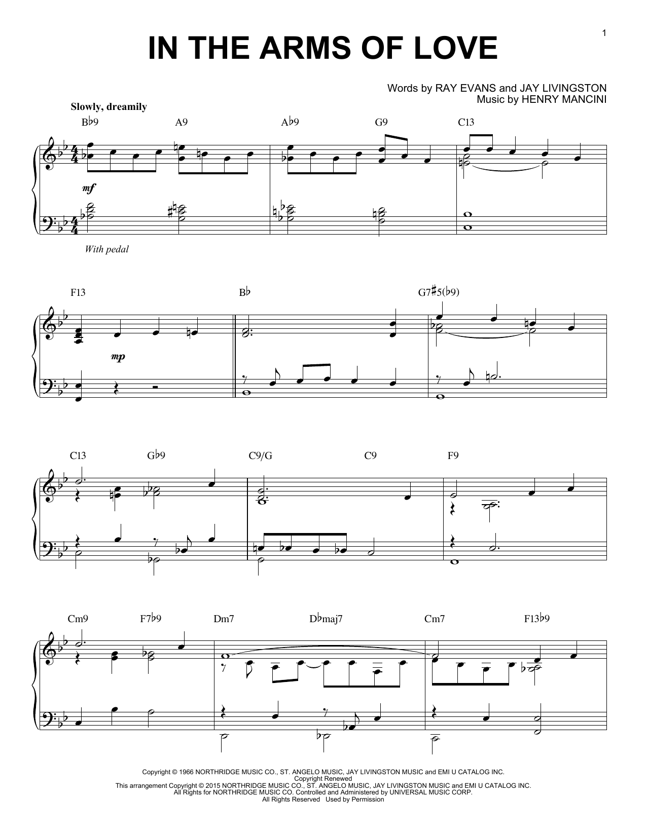 Henry Mancini In The Arms Of Love [Jazz version] (arr. Brent Edstrom) sheet music notes and chords. Download Printable PDF.
