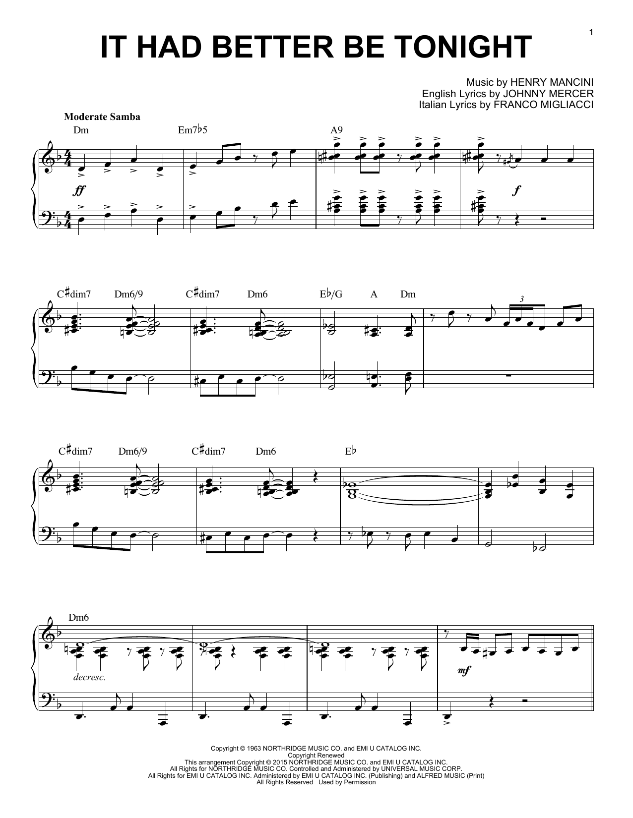Henry Mancini It Had Better Be Tonight [Jazz version] (arr. Brent Edstrom) sheet music notes and chords. Download Printable PDF.