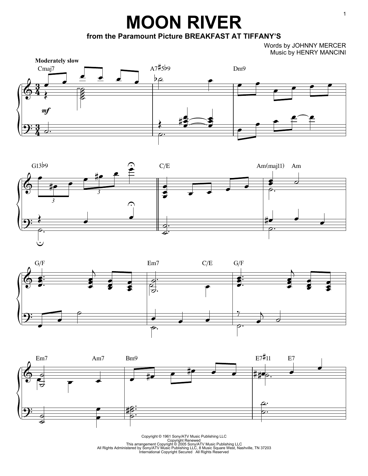 Henry Mancini Moon River sheet music notes and chords. Download Printable PDF.