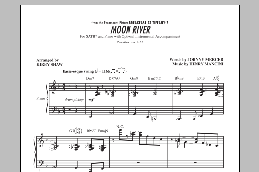 Piano Accompaniment Sheet Music Vocal Score Henry Mancini: Moon River SSA SSA
