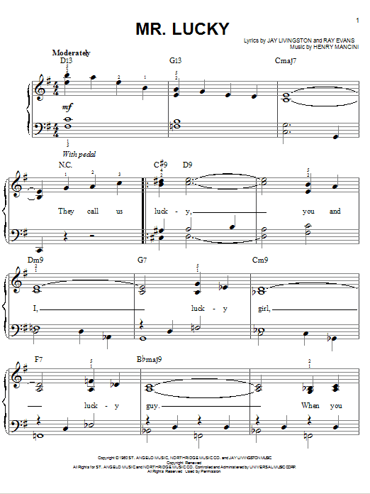 Henry Mancini Mr. Lucky sheet music notes and chords. Download Printable PDF.