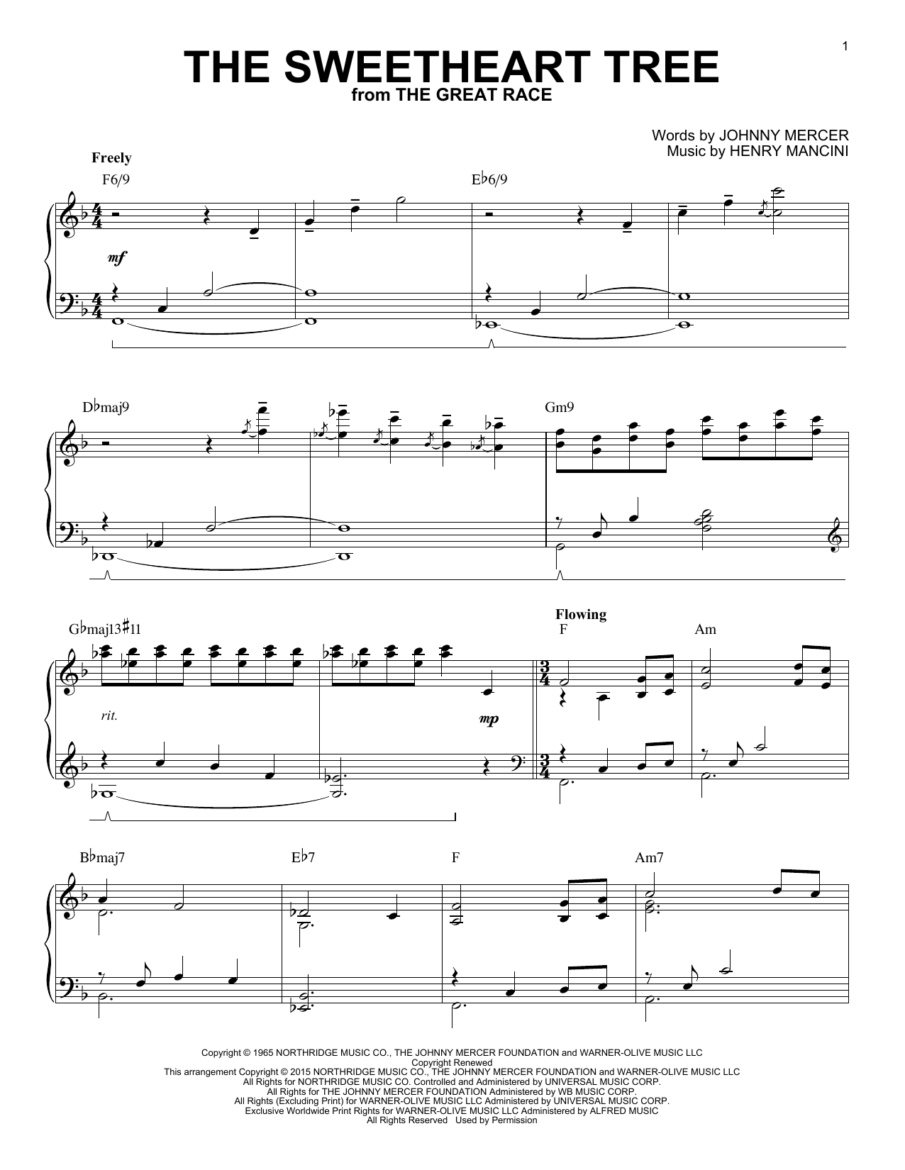 Henry Mancini The Sweetheart Tree [Jazz version] (arr. Brent Edstrom) sheet music notes and chords. Download Printable PDF.