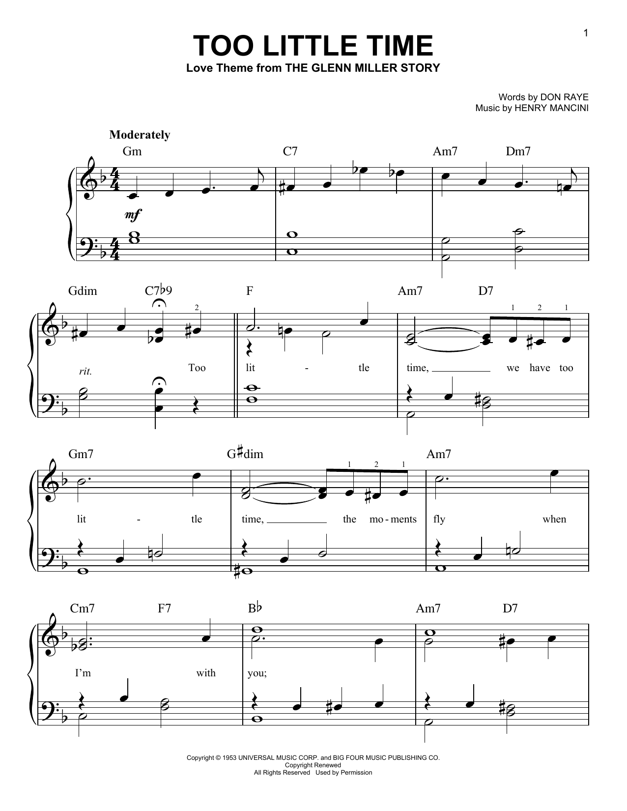 Henry Mancini Too Little Time sheet music notes and chords. Download Printable PDF.