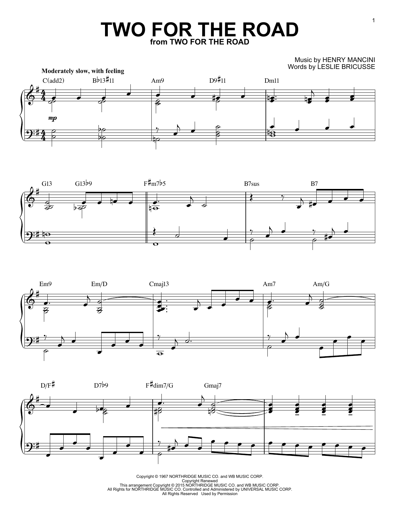 Henry Mancini Two For The Road [Jazz version] (arr. Brent Edstrom) sheet music notes and chords. Download Printable PDF.