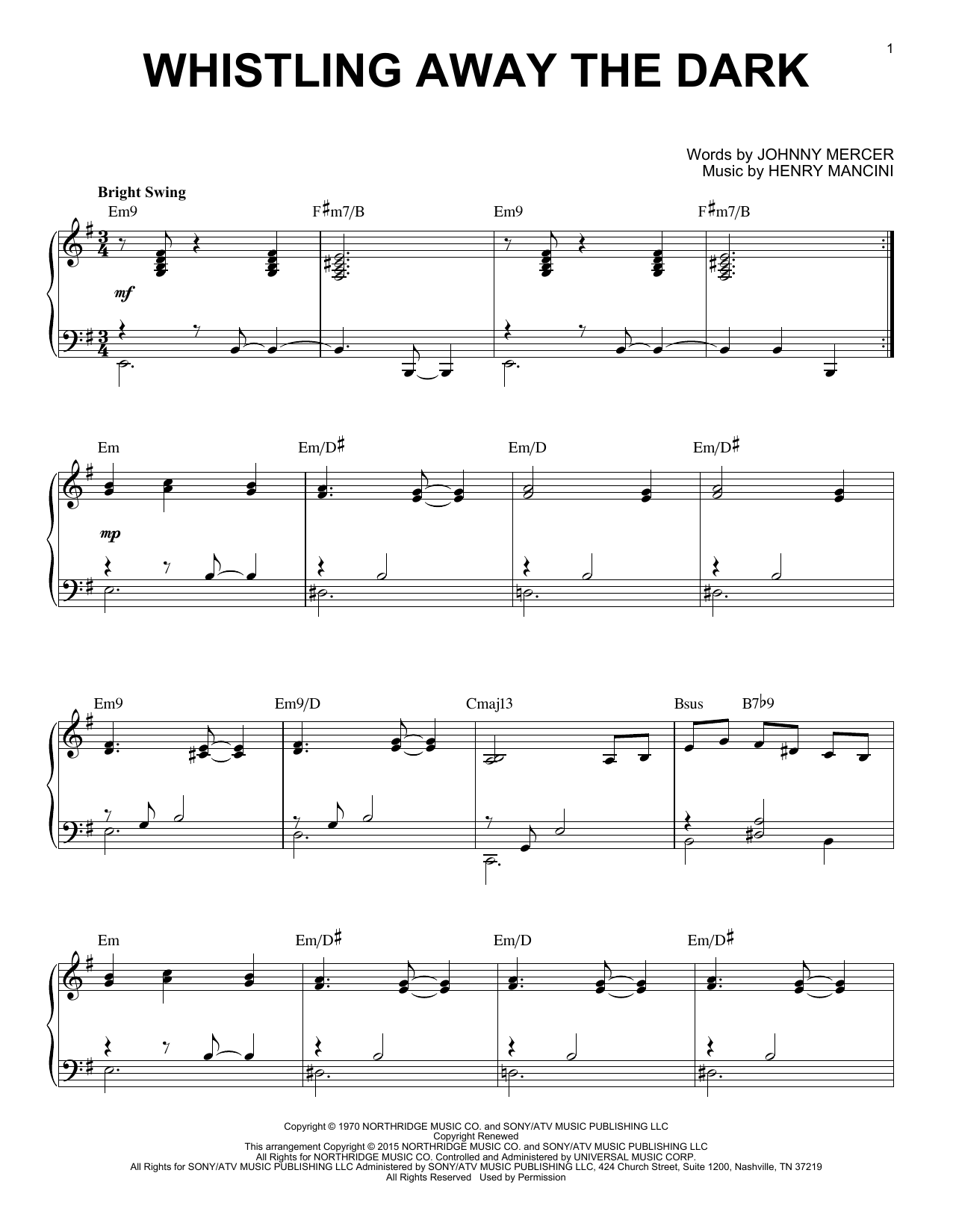 Henry Mancini Whistling Away The Dark [Jazz version] (arr. Brent Edstrom) sheet music notes and chords. Download Printable PDF.