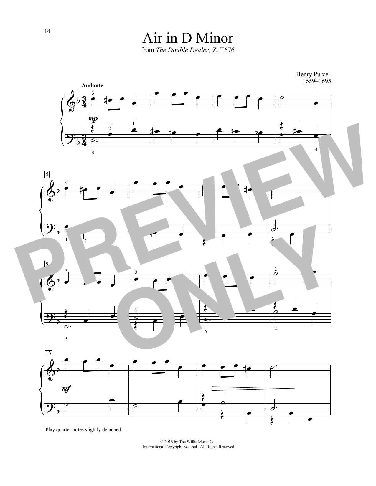 Henry Purcell Air In D Minor sheet music notes and chords. Download Printable PDF.