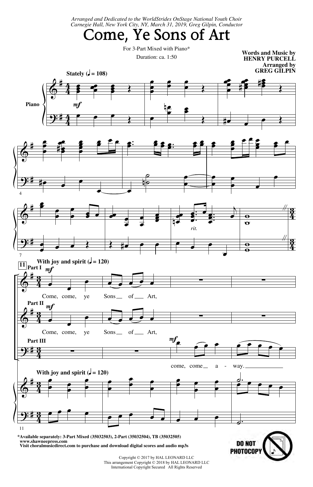 Henry Purcell Come, Ye Sons Of Art (arr. Greg Gilpin) sheet music notes and chords