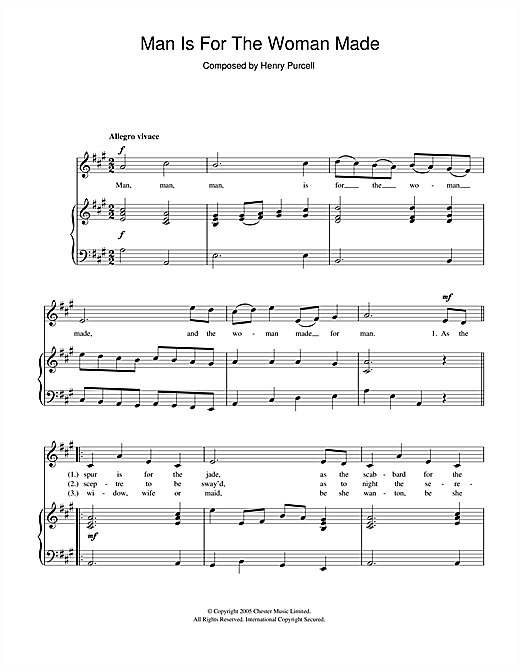 Henry Purcell Man Is For The Woman Made sheet music notes and chords. Download Printable PDF.