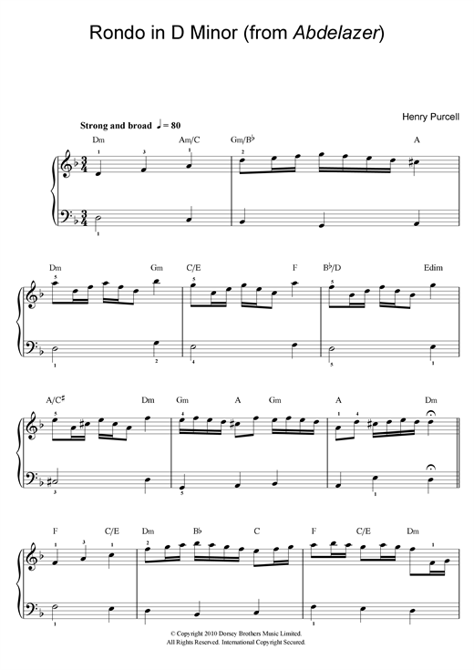 Henry Purcell Rondo in D Minor (from Abdelazer) sheet music notes and chords. Download Printable PDF.