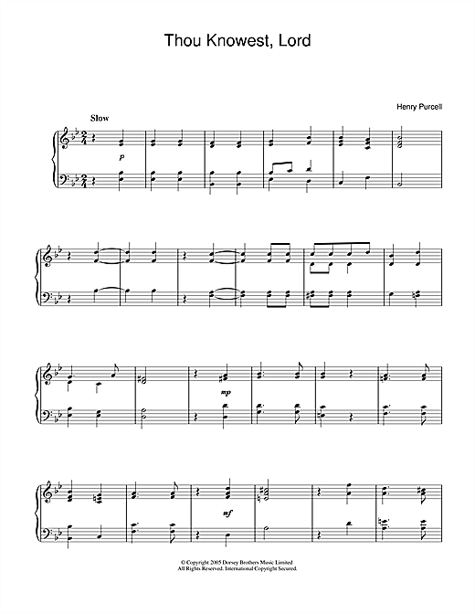 Henry Purcell Thou Knowest, Lord sheet music notes and chords. Download Printable PDF.