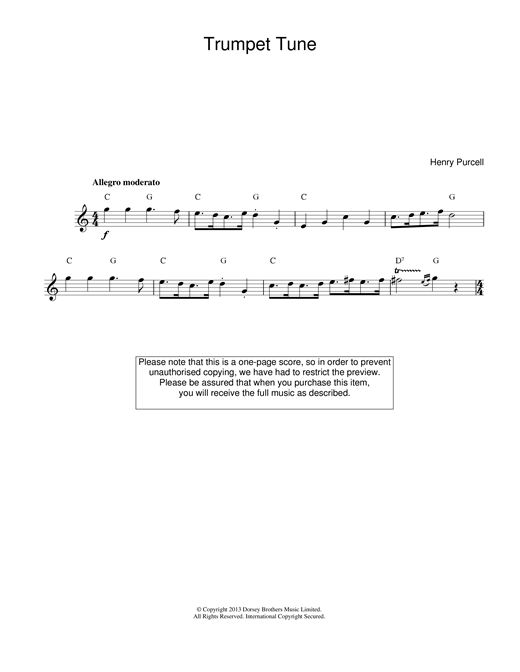 Henry Purcell Trumpet Tune sheet music notes and chords