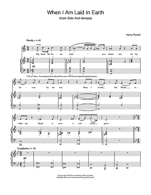 Henry Purcell When I Am Laid In Earth (from Dido And Aeneas) sheet music notes and chords