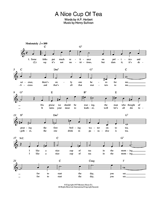 Henry Sullivan A Nice Cup Of Tea sheet music notes and chords. Download Printable PDF.