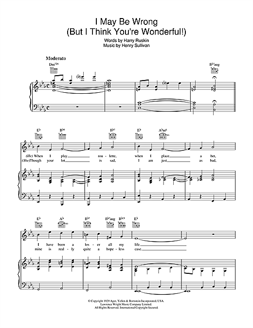 Henry Sullivan I May Be Wrong (But I Think You're Wonderful) sheet music notes and chords. Download Printable PDF.