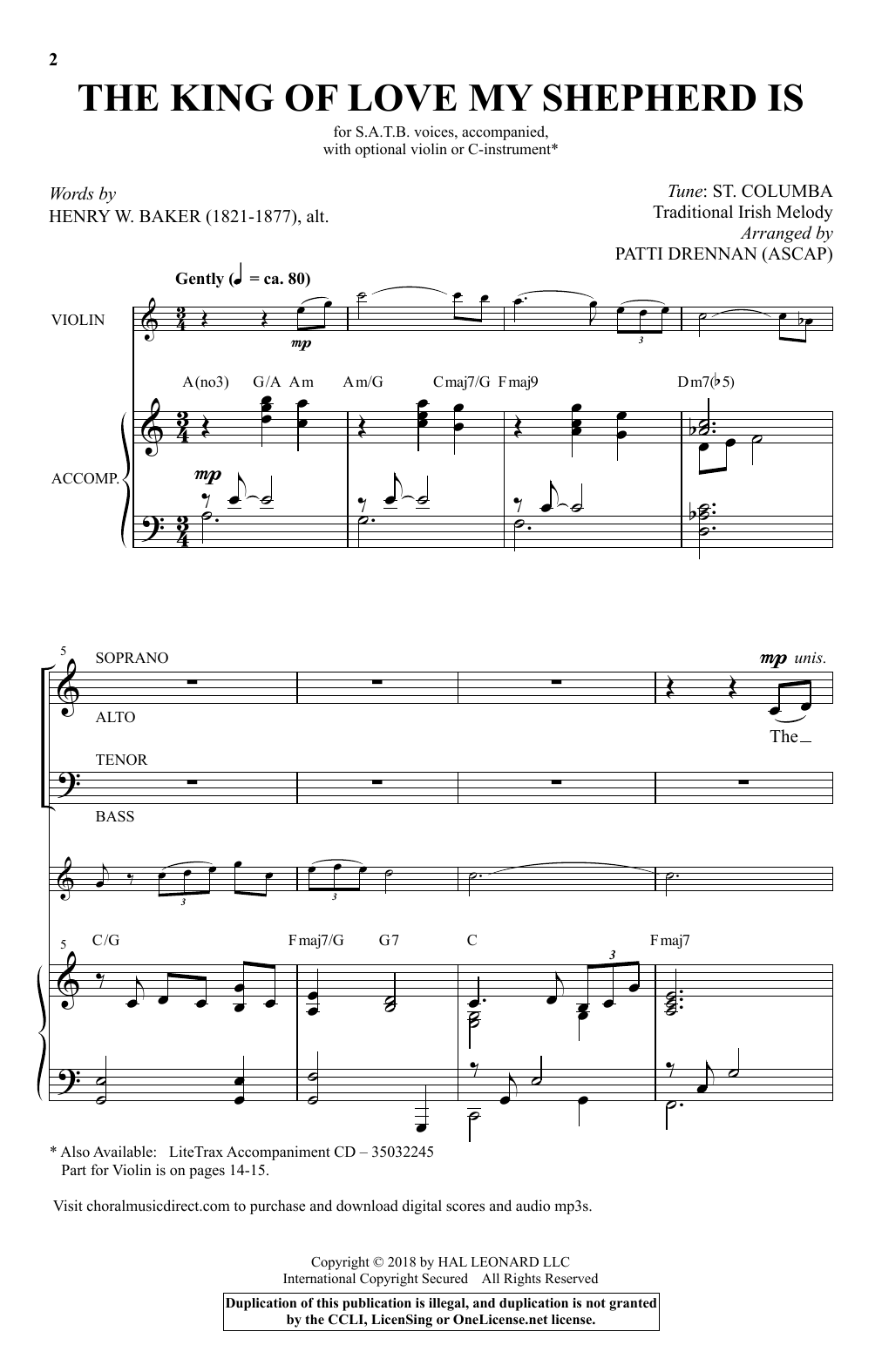 Henry W. Baker The King Of Love My Shepherd Is (arr. Patti Drennan) sheet music notes and chords. Download Printable PDF.