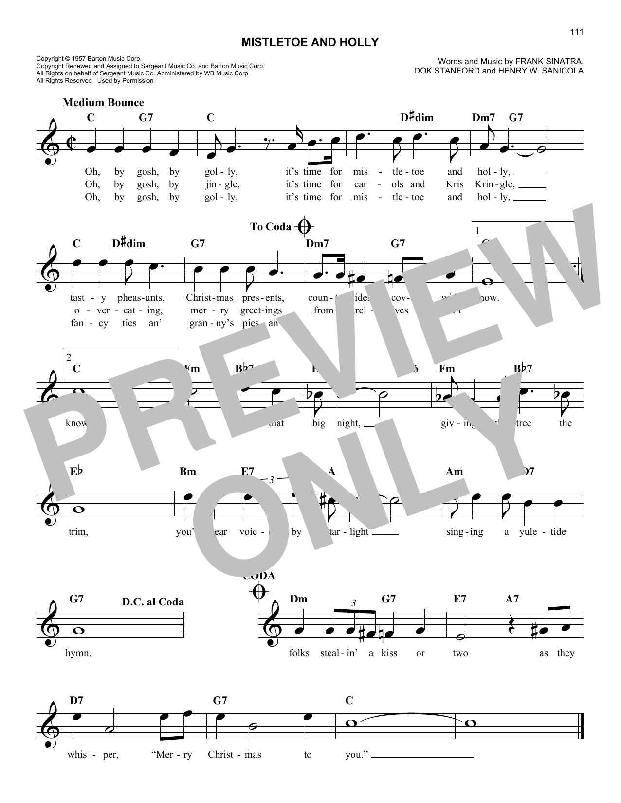 Henry W. Sanicola Mistletoe And Holly sheet music notes and chords. Download Printable PDF.