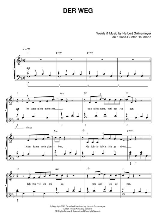 Herbert Groenemeyer Der Weg sheet music notes and chords. Download Printable PDF.