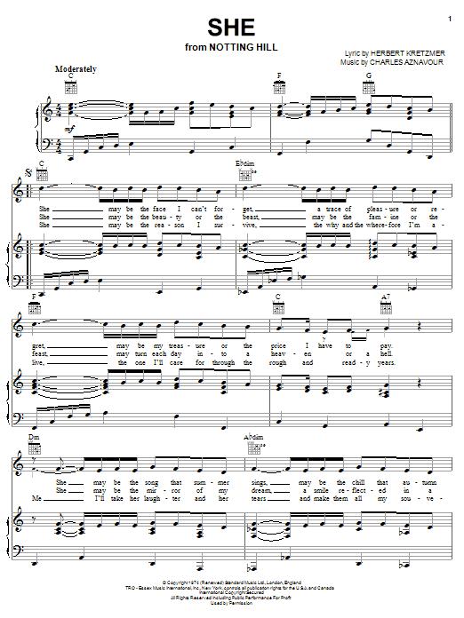Herbert Kretzmer She sheet music notes and chords. Download Printable PDF.