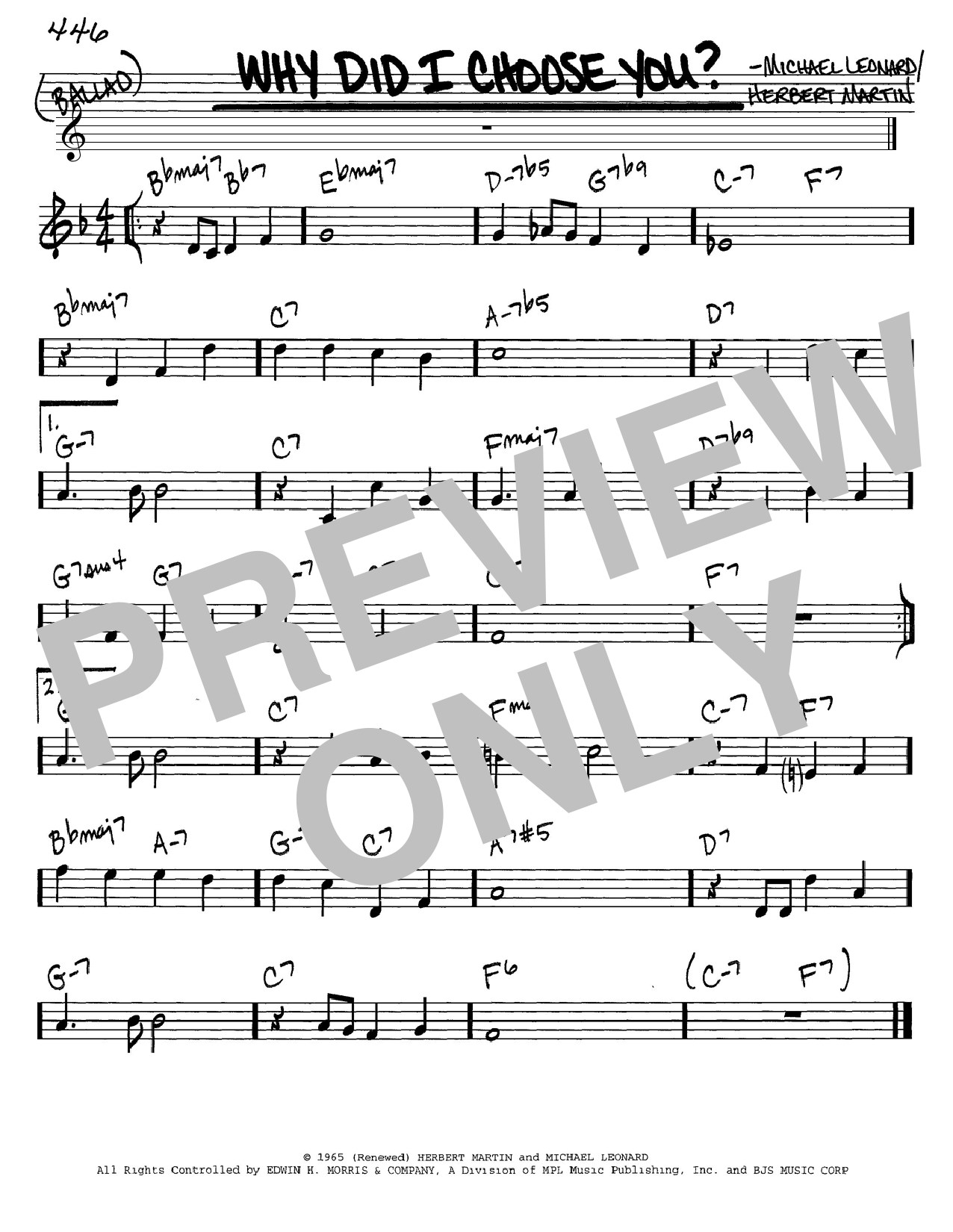 Herbert Martin Why Did I Choose You? sheet music notes and chords. Download Printable PDF.