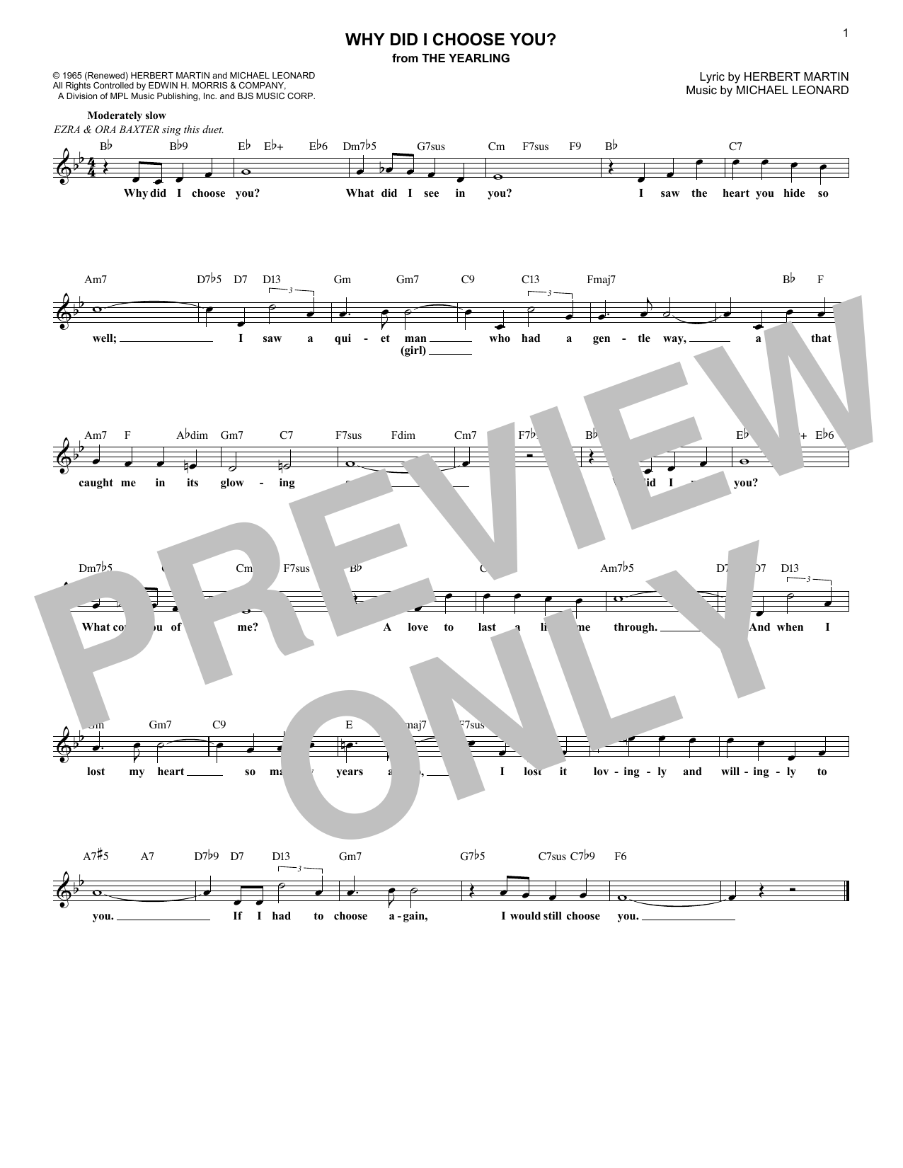Herbert Martin Why Did I Choose You? (from The Yearling) sheet music notes and chords. Download Printable PDF.