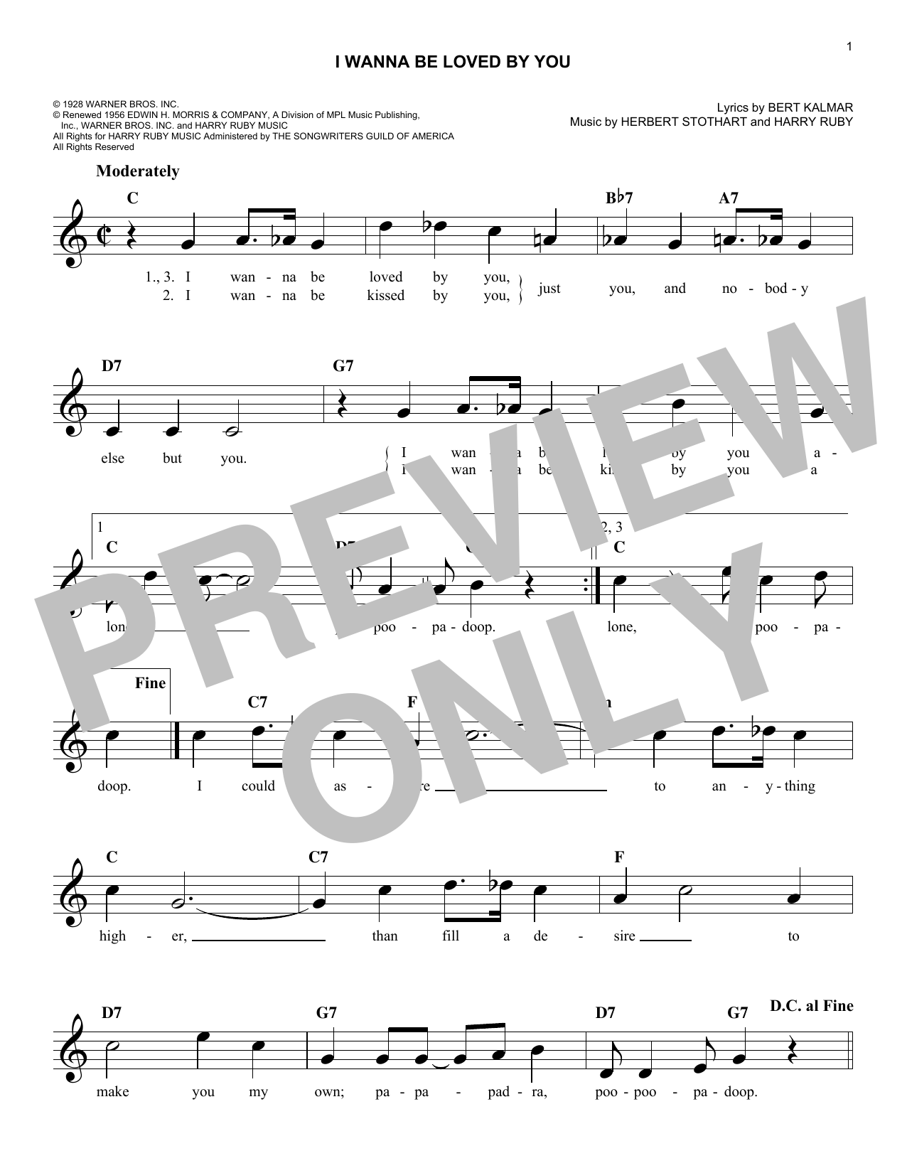 Herbert Stothart I Wanna Be Loved By You sheet music notes and chords. Download Printable PDF.