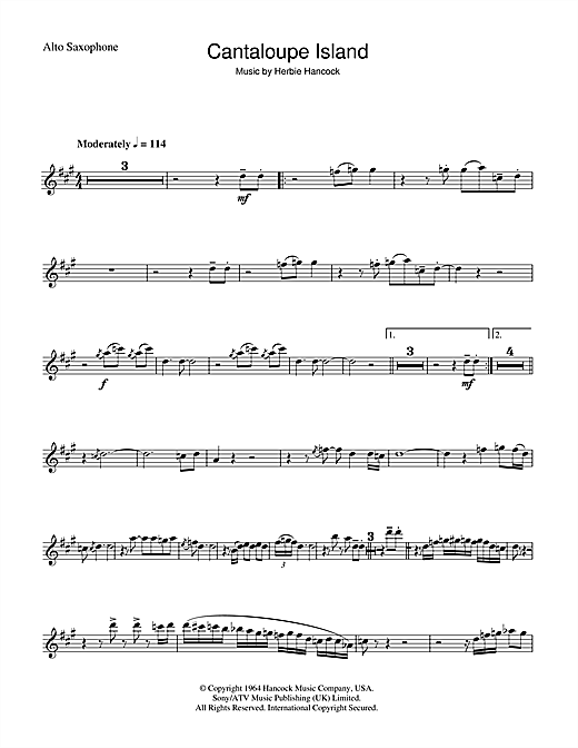 Herbie Hancock Cantaloupe Island sheet music notes and chords. Download Printable PDF.