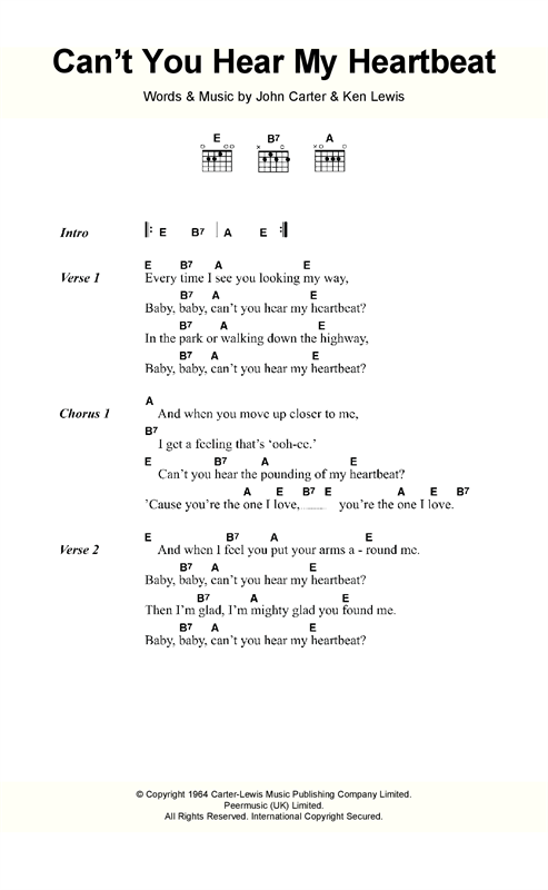 Herman's Hermits Can't You Hear My Heartbeat sheet music notes and chords. Download Printable PDF.