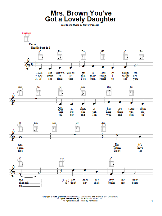 Herman's Hermits Mrs. Brown You've Got A Lovely Daughter sheet music notes and chords. Download Printable PDF.