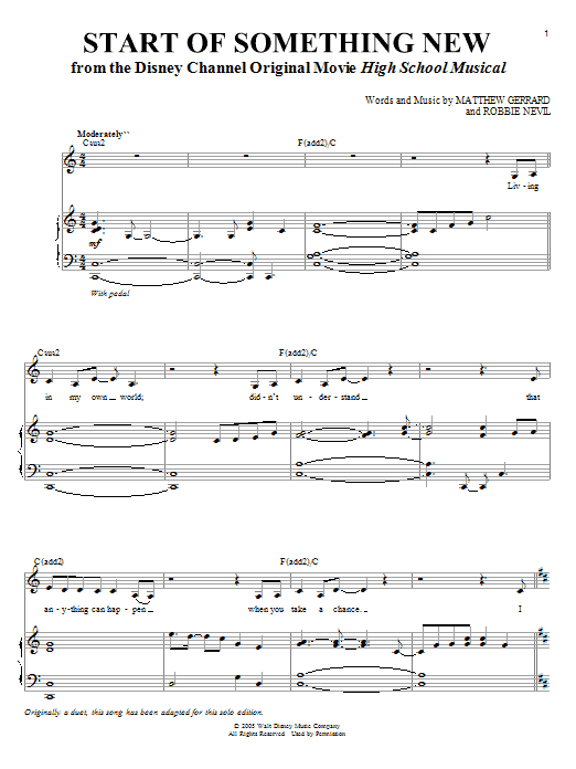High School Musical Start Of Something New sheet music notes and chords