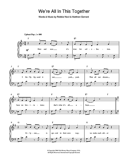 High School Musical 'We're All In This Together' Sheet Music Notes, Chords  | Download Printable 2-Part Choir - SKU: 48154