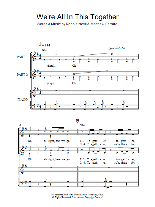 High School Musical We're All In This Together sheet music notes and chords. Download Printable PDF.