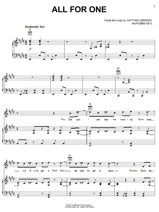 High School Musical 2 All For One sheet music notes and chords. Download Printable PDF.
