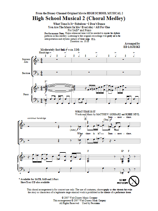 High School Musical 2 Choral Medley (arr. Ed Lojeski) sheet music notes and chords