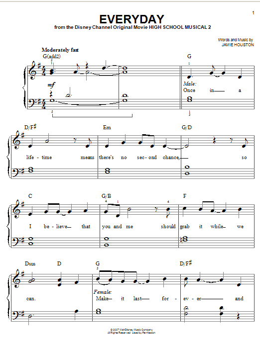 High School Musical 2 Everyday sheet music notes and chords. Download Printable PDF.