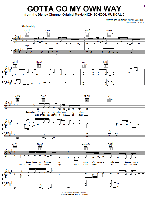 High School Musical 2 Gotta Go My Own Way sheet music notes and chords. Download Printable PDF.