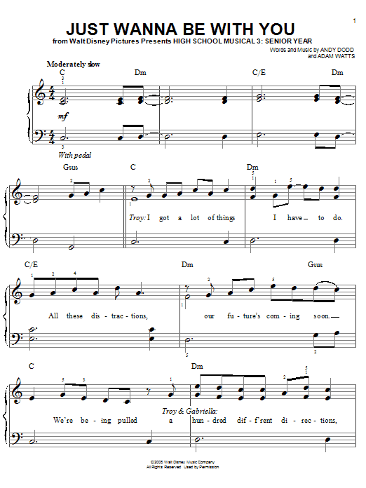 High School Musical 3 Just Wanna Be With You sheet music notes and chords
