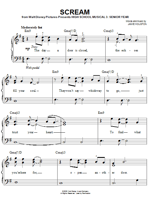 High School Musical 3 Scream sheet music notes and chords