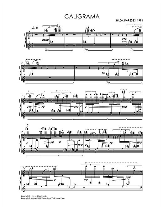 Hilda Paredes Caligrama sheet music notes and chords. Download Printable PDF.