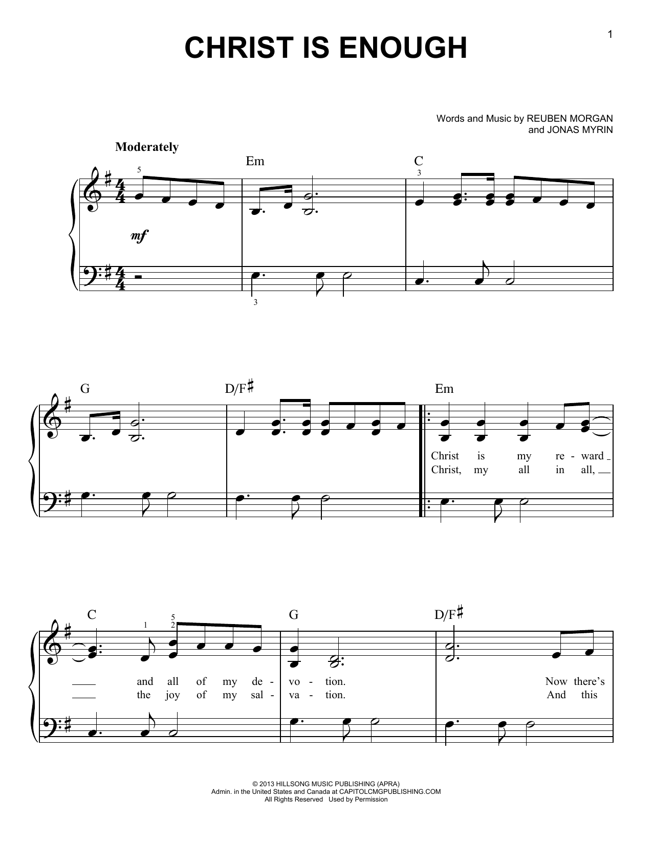 Hillsong LIVE 'Christ Is Enough' Sheet Music Notes, Chords | Download  Printable Easy Piano - SKU: 164523