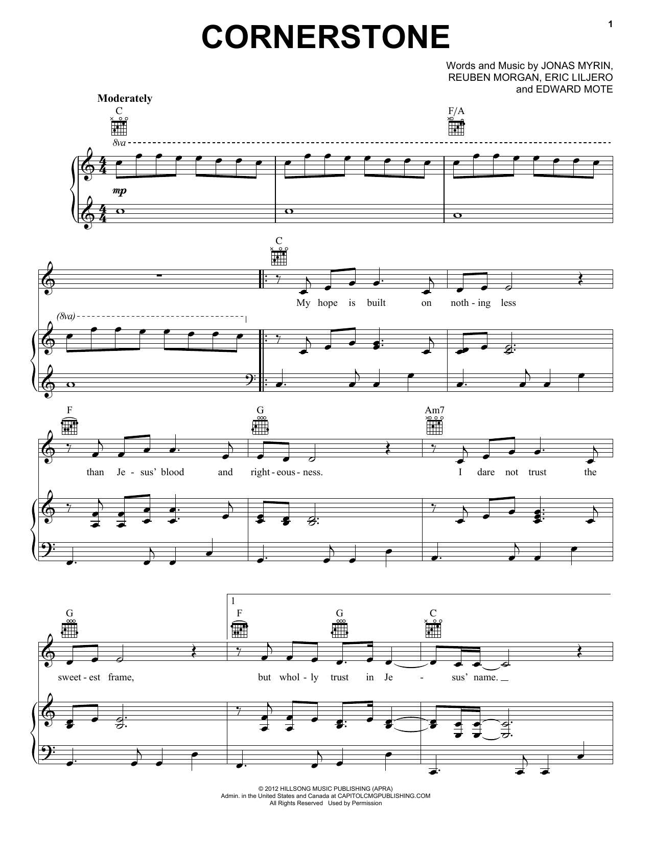 Hillsong Live Cornerstone sheet music notes and chords