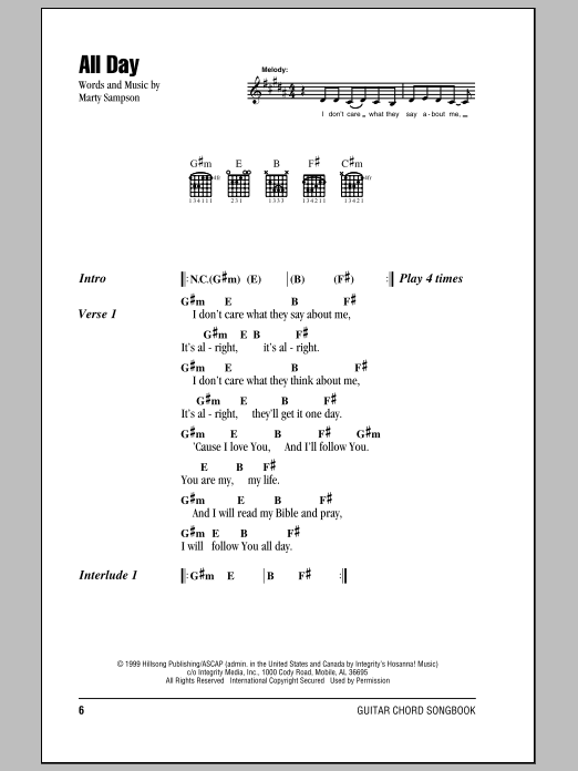 Hillsong United All Day sheet music notes and chords. Download Printable PDF.