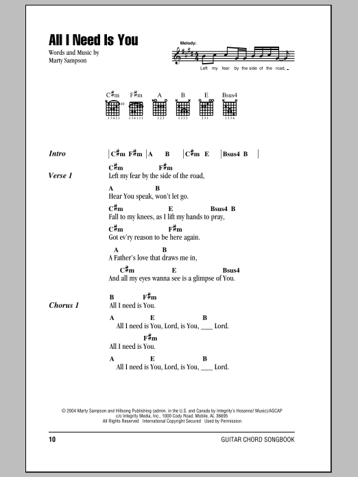Hillsong United All I Need Is You sheet music notes and chords. Download Printable PDF.