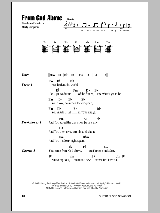 Hillsong United From God Above sheet music notes and chords. Download Printable PDF.