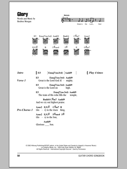 Hillsong United Glory sheet music notes and chords. Download Printable PDF.