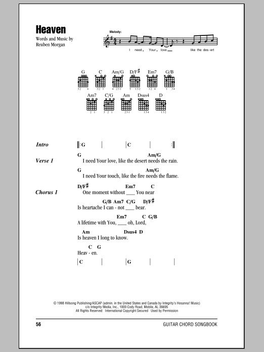 Hillsong United Heaven sheet music notes and chords. Download Printable PDF.