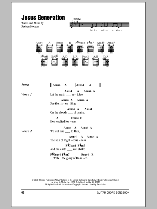 Hillsong United Jesus Generation sheet music notes and chords. Download Printable PDF.