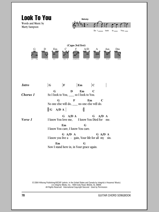 Hillsong United Look To You sheet music notes and chords. Download Printable PDF.