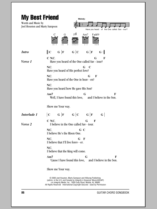 Hillsong United My Best Friend sheet music notes and chords. Download Printable PDF.