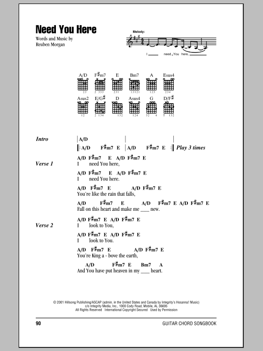 Hillsong United Need You Here sheet music notes and chords. Download Printable PDF.